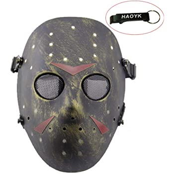 Haoyk CS Jeux Jason Masque SafeGuard Full Face Masque de protection en maille métallique pour Halloween Masquerade Cosplay Costume de fête