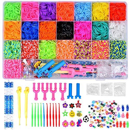 6800 Kit para hacer pulseras de goma, GTWCK accesorios para el pelo para niños y niñas, set de regalo de manualidades, 50 cuentas, 10 ganchos de ganchillo, 300 clips en S y estuche organizador