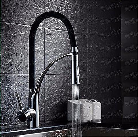 SADASD Im europäischen Stil Kupfer Doppel Wasser Spüle Wasserhahn Feder Pull-Type Farbwechsel mit Licht Schwarz Keramik Ventil Warmes und kaltes Wasser Universal Gemüse Becken sitzen Waschtischmischer Led