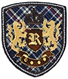 alles-meine.de GmbH 3 Stück _ Bügelbilder -  Emblem / Orden - Kariert  - 5,5 cm * 6,2 cm - Aufnä..