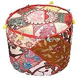 Stylo Culture Osmanischen Hocker Hocker Abdeckung Bank Boden Hocker Multi Color Patchwork Kauri Quasten Baumwolle Traditionellen Runden Stoff Hocker Ottoman Cover (18x18x13 Zoll) 45cm