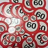 Folat XXL-Konfetti * Zahl 60 * als Verkehrsschild mit 48 großen Konfetti-Tei