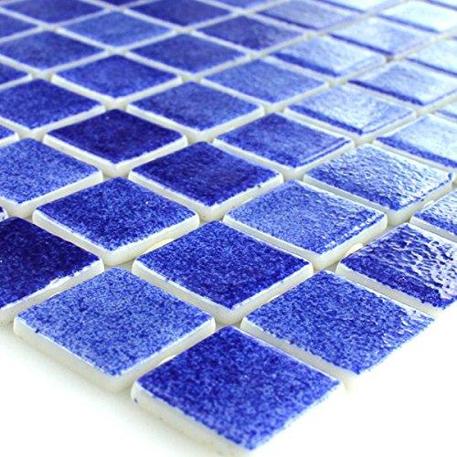 Glas Schwimmbad Pool Mosaik Fliesen Dunkelblau Mix