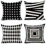 JOTOM Weiche Baumwolle Leinen Kissenbezüge Startseite Dekorative Kissen Fall 45 x 45cm Set von 4 (Schwarz-Weiß-Geometrie)
