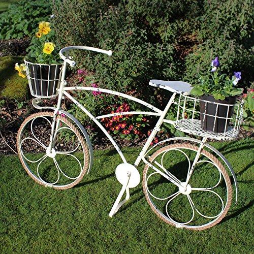 Elegant Antique Cream Metal Ornamental Garden Bicycle Bike Pot Planter