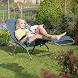 Relaxdays Bäderliege klappbar grau, Metall, Kunststoff Textil, HxBxT: 110 x 75 x 135 cm, Garten, Kippliege, anthrazit