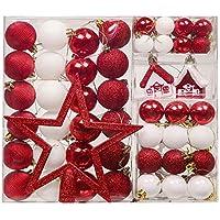 Valery Madelyn Boule de Noël, 60Pcs 3cm-20cm Décoration de Noël Couleur Rouge et Blanc Incassables Boules pour Sapin de Noel Diverses Quantités et Tailles au Choix