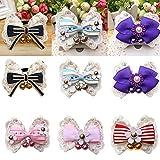 Huhuswwbin Hundehalsband für Hunde und Katzen, niedlich, Kleine Glöckchen, Spitze, Blume, Schleife, Halsband – 2# XS