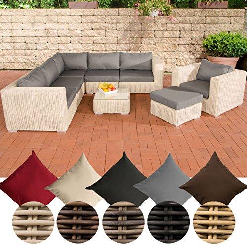 CLP Ensemble meubles de jardin lounge ARIANO en polyrotin de 5 mm, piètement aluminium (sofa de 5 places, fauteuil, tabouret bas, table, matela 10 cm épais) Couleur de rotin: blanc perle, Revêtement: gris métal