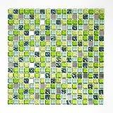 Glasmosaik Fliesen Mosaik Küche Bad WC Wohnbereich Fliesenspiegel Mosaikfliesen Quadrat grün Mix Edelstahl Glas 8mm #457