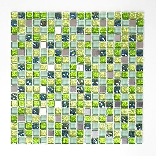 osaik Küche Bad WC Wohnbereich Fliesenspiegel Mosaikfliesen Quadrat grün Mix Edelstahl Glas 8mm #457 ()