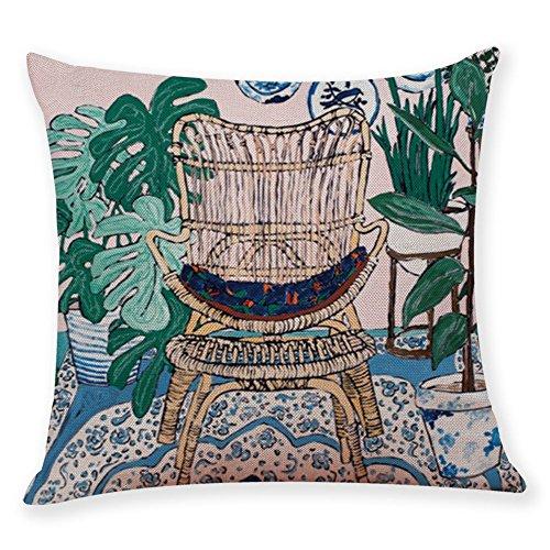 BZLine Housse de Coussin imprimée Happy Life, Fashion Pillowcase pour la Maison et Le Magasin de décoration Frais et créatif 45 × 45 cm (C)