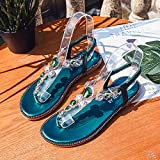 Shukun Chancletas del dedo del pie Sandalias de Verano Sandalias de Moda de Fondo Plano Bohemio Zapatos de Hadas de Las Mujeres Piedras de Pinch Sandalias,36,Verde