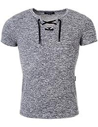 Carisma Herren T-Shirt slimfit meliert tiefer Ausschnitt mit Schnürung Schnürkragen Sweatshirt T-Shirt kurzarm