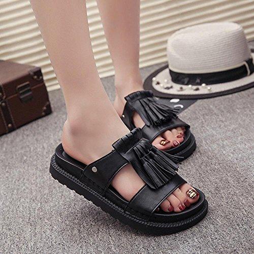 Hunpta Damen Sommer Sandalen Schuhe römischen Fransen Sandalen Flip Flops Schwarz