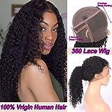 Lady Wig Profonde Perruques De Cheveux Humains Bouclés 360 Dentelle Frontale Perruques avec Pré Plumée Naturelle Délié Brésilien Remy Cheveux 130% Densité
