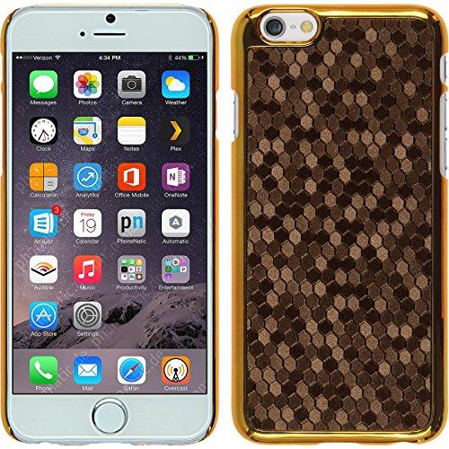 PhoneNatic Case für Apple iPhone 6 Plus / 6s Plus Hülle schwarz Hexagon Hard-case für iPhone 6 Plus / 6s Plus + 2 Schutzfolien Braun