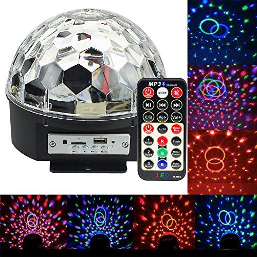 ividz rotatoria Strobe Bluetooth MP3stadiums luces, cristal Magic Ball RGB Disco DJ Efecto de luz, SD y USB Puertos para música Jugar, con altavoces y Habilidades inalámbrica y un mando a Impuestos Pult