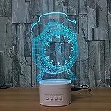 LT&NT Radio-réveil 3d illusion d'optique visual veilleuse avec bureau bluetooth speaker base led Lampe de table, 5 couleurs changent usb, Enfants Veilleuse sommeil de bébé, Décoration de noël cadeau-A