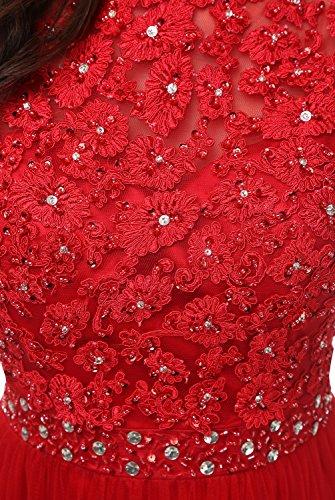 Bbonlinedress Robe de cérémonie Robe de soirée en tulle col montant longueur ras du sol Corail