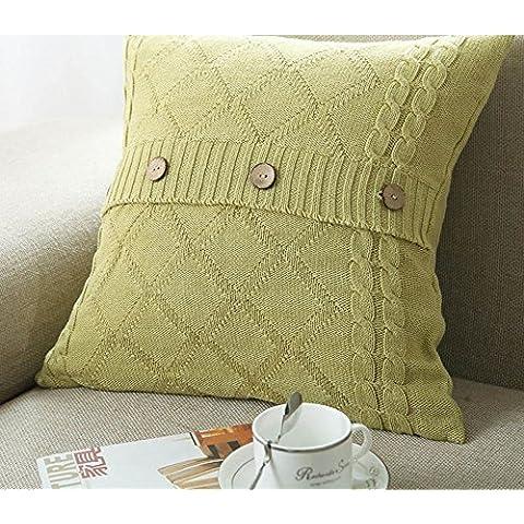 Più colore stile semplice divano cuscino/Tinta unita in cotone lavorato a maglia guanciale/semplice pulsante stile-B 45x45cm(18x18inch)VersionB