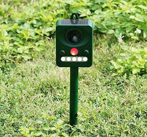 Ruichenxi Ultraschall Vogelabwehr Solar Tiervertreiber, Hundeschreck, Katzenschreck, Marderschreck Tierabwehr Mit PIR Sensor für Outdoor Farm Garten Abschreckung Frequenz einstellbar