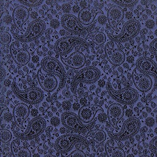 Fabulous Fabrics Futterstoff Jacquard Paisley - Marineblau - Meterware ab 0,5m - zum Nähen von Futter, Abend- und Partymode und Businesskleidung -