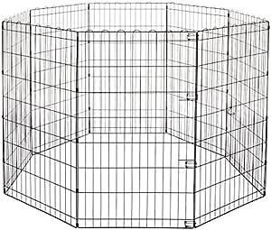 AmazonBasics Foldable Metal Pet Dog Exercise Fence Pen - 60 x 60 x 42 Inches