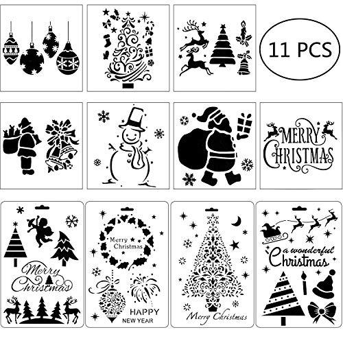 Outus 11 Stücke Weihnachten Schablonen Handwerk Malerei Vorlage DIY Zeichnung Schablonen für Weihnachten Urlaub Zeichnung Kunst Dekoration Lieferungen