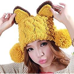 LOCOMO orejas de gato Pom Pom Cable Knit Beanie gorro de ganchillo Costilla Brim Cap ffh083gry