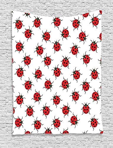 daawqee Ladybugs Decorations Tapestry Ladybugs Pattern Bunch of Bugs Infinite Speckled Marked Insect Theme Playroom Kids Bedroom Living Room Dorm 50 W x 60 L Inches Unique Home Decor