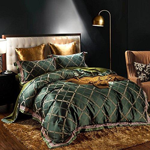 BEIZI Baumwolle Spitze Bettwäsche-Set Schlafzimmer Satin Jacquard Seidig Bettdecke Königin König Größe Hochzeit Geschenk 4 teilige, I -