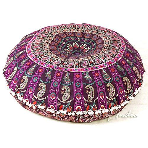 """Eyes of India - 32"""" Redondo de Colores Cojín para Suelo Meditación Cojín Asiento Manta Funda Mandala Hippie Indio Bohemia Boho Cama Perro Funda - Bar-l1-32-purple 1, 32 in."""