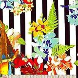 Stretch Satin–Papageien und Blumenmuster Streifen