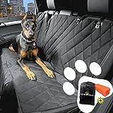 Amaca impermeabile per cane, Dewenxi Tech coprisedile posteriore con fessura per allacciare la cintura di sicurezza, Coperta telo per proteggere sedile di automobile per animali domestici, nero (tela damascata)