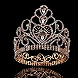 FUMUD Magnificent Clear Austrian Rhinestone Tiara Crown Wedding Bridal Pageant Party Crown Height 4.6''