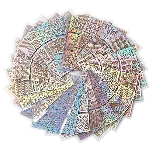 t Blume unregelmäßige geometrische Muster Platte Sammlung Plaids Streifenform Splice Bild Platte Nail Art Design Stamping Set DIY Nail Decor ()