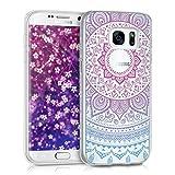 kwmobile Samsung Galaxy S7 Hülle - Handyhülle für Samsung Galaxy S7 - Handy Case in Blau Pink Transparent