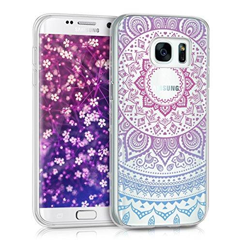 kwmobile Funda para Samsung Galaxy S7 - Carcasa de TPU para móvil y diseño de Sol hindú en Azul/Rosa Fucsia/Transparente