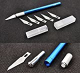 Bastelmesser Blau + 6 Ersatzklingen - Modellbaumesser Skalpell Schnitzmesser Cutter Hobbymesser Präzisionsmesser von Modellbau Eibl