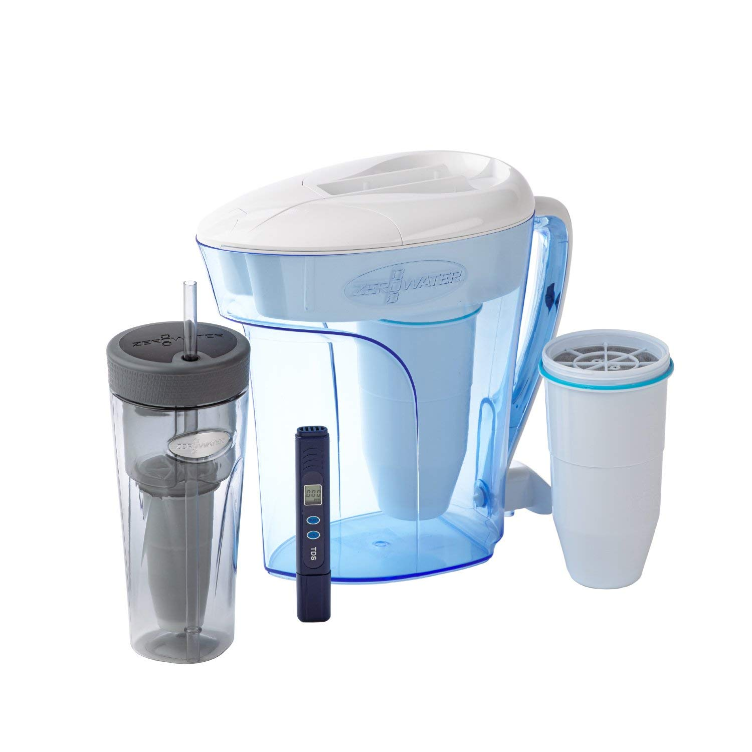 ZeroWater Combo Hydration Kit | 2 8 Litre Water Jug with Filter, 760ml  Portable Travel & Sports Bottle & Spare Ion Exchange Water Filter, Value  Pack -