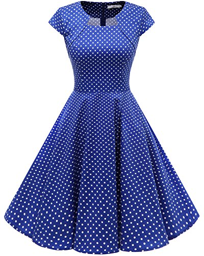 intage Retro Kleid Party Kurzarm Rockabilly Cocktail Abendkleider RoyalBlue Small White Dot 3XL (Die Kleidung)