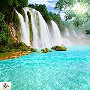 Kayra Decor Amusing Waterfall 3D Wallpaper Print Decal Deco Indoor Wall Mural