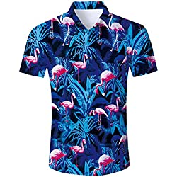 TUONROAD Camisa Hawaiana para Hombre 3D Estampada Hermoso Flamenco Camisas de Playa Modelo Casual Manga Corta Camisas Verano Camisa del Tema en la Fiesta de Bodas Cumpleaños - XL