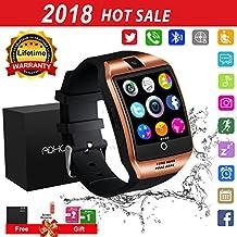 Smart Watch Phone Touchscreen,Bluetooth Smartwatch con Camera,Smart Orologio,Impermeabile Orologio Intelligente con SIM Card Fessura per Android Samaung ios Apple Iphone X 8 Donna Uomini Uomo Gold