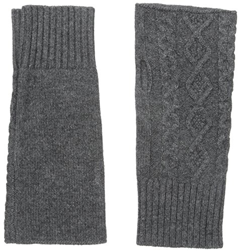 bela.nyc Women's Cashmere Cable Fingerless Gloves, Charcoal Heather, One Size