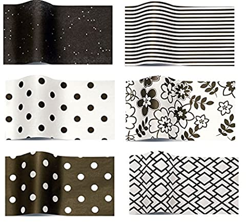 Black white set x 6 of tissue wrapping papers 6 packs of 5 sheets - black dots of white black stripes on white retro floral white dots on black opaque geometric and black onyx gemstones