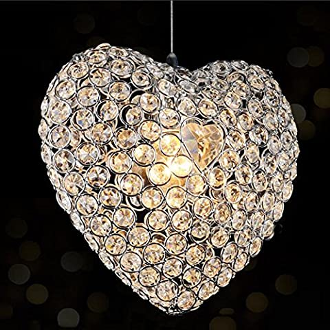 Lamp, crystal lamp, chandelier high quality Heart-shaped Crystal E27 Pendant Lamp Iron Stainless Steel Ceiling