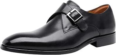 Mens Monk Strap Leather Slip On Derby Formal Dress Casual Shoes for Men Loafer Black Tan Brown