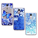 Yokata Kompatibel mit LG K8 2017 Hülle Silikon Transparent Durchsichtig Handyhülle Schutzhülle TPU Ultra Dünn Slim Kratzfest mit Motiv [3 Pack] - Blauer Schmetterling + Weiße Blume + Blauer Lotus